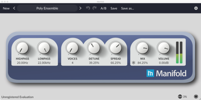 Manifold, Modulation and Harmonizing Effect, available for Mac OS X, Windows, and Linux as a Standalone application, or for Cubase, Sonar, FL Studio, or any host that supports Audio Units or VST Plugins.