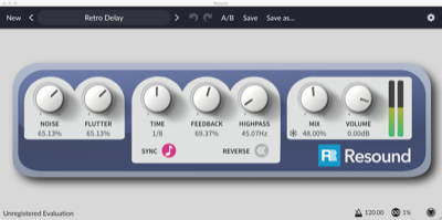 Resound, Vintage Sounding Delay Effect, available for Mac OS X, Windows, and Linux as a Standalone application, or for Cubase, Sonar, FL Studio, or any host that supports Audio Units or VST Plugins.