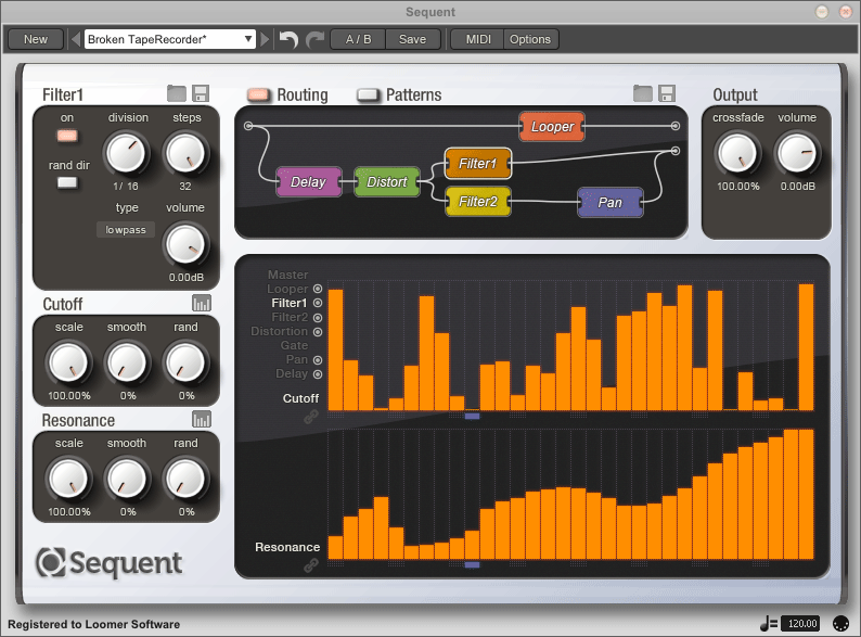Sequent, Sequenced Modular Beat Looping FX, available for Mac OS X, Windows, and Linux as a Standalone application, for Cubase, Sonar, FL Studio, or any host that supports Audio Units or VST Plugins, or RTAS for Pro Tools.