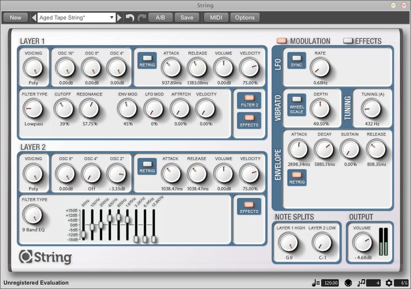 String for Mac OS X full screenshot