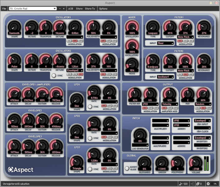 Aspect is a 32-note polyphonic software synth